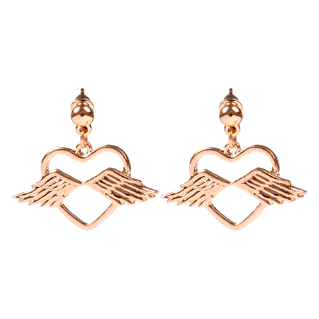itGirl Shop | METALLIC HEART WINGS GOLDEN SILVER EARRINGS