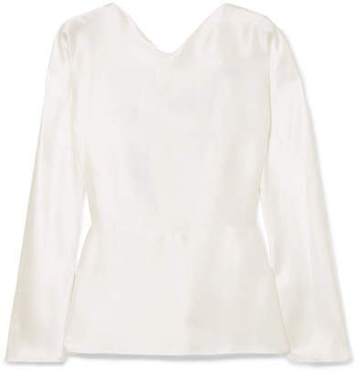 Mia Knotted Silk-satin Blouse - Ivory