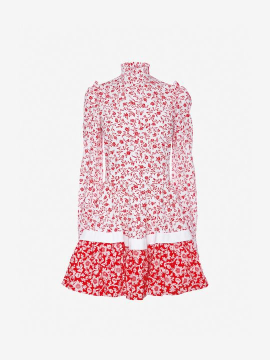 Women's White/Red  Victorian Floral Poplin Mini Dress    Alexander McQueen