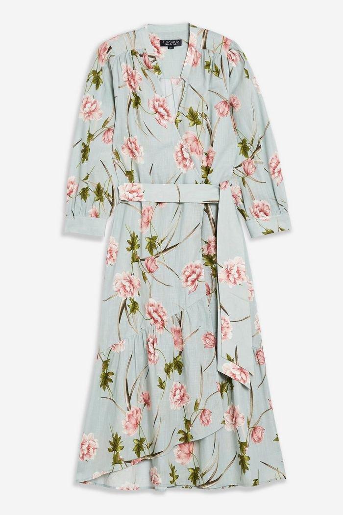 Floral Midi Wrap Dress | Topshop Blue