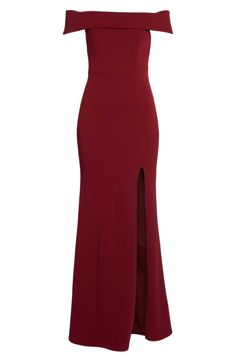 Lulus | Off the Shoulder Mermaid Gown in Burgundy