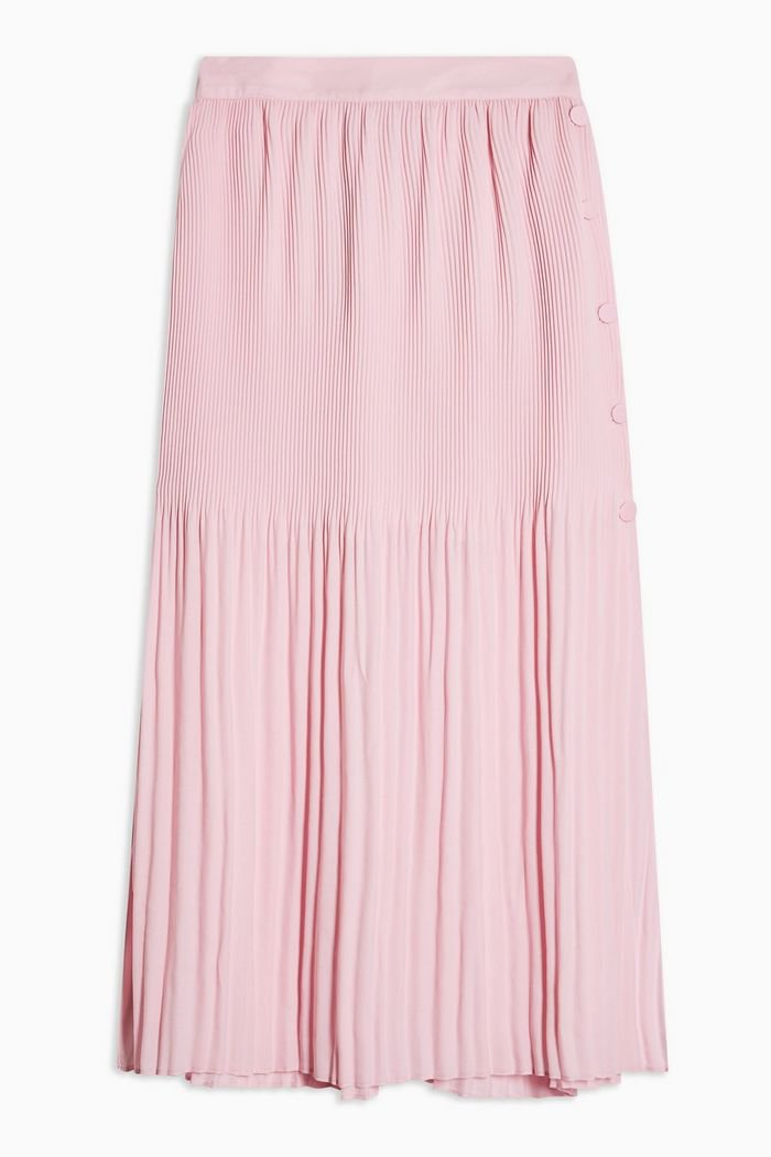 Pink Pleat Side Button Midi Skirt   Topshop