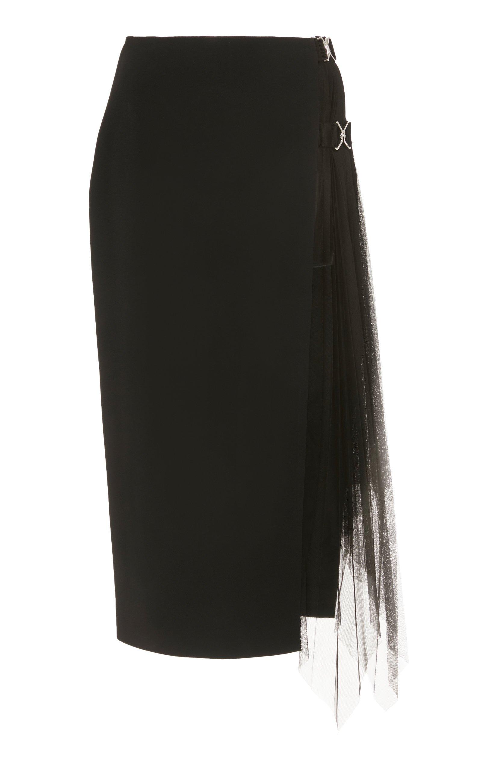 David Koma Side-Slit Tulle Pencil Skirt Size: 14