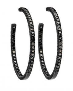 Yossi Harari Lilah Pave Black Diamond Hoop Earrings