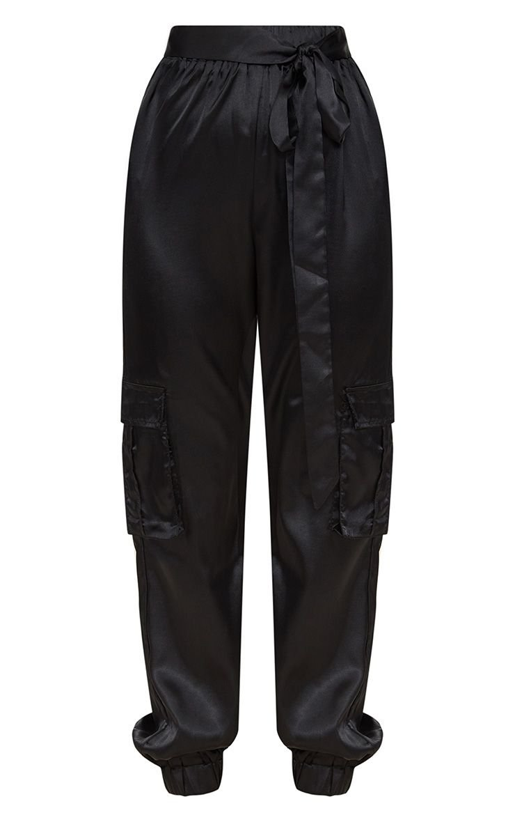 Petite Black Satin Cargo Pants | Petite | PrettyLittleThing USA