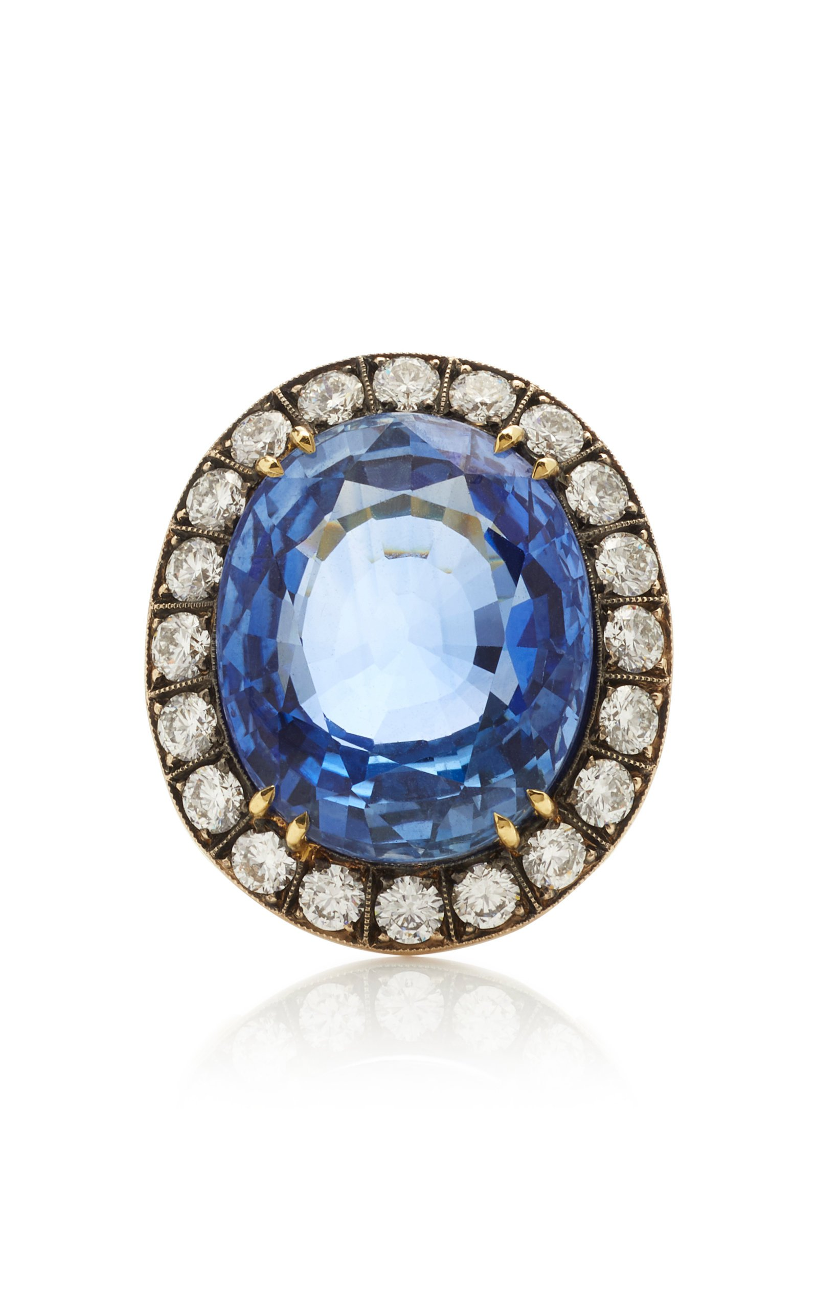 Sylva & Cie 18K Gold Sapphire and Diamond Ring