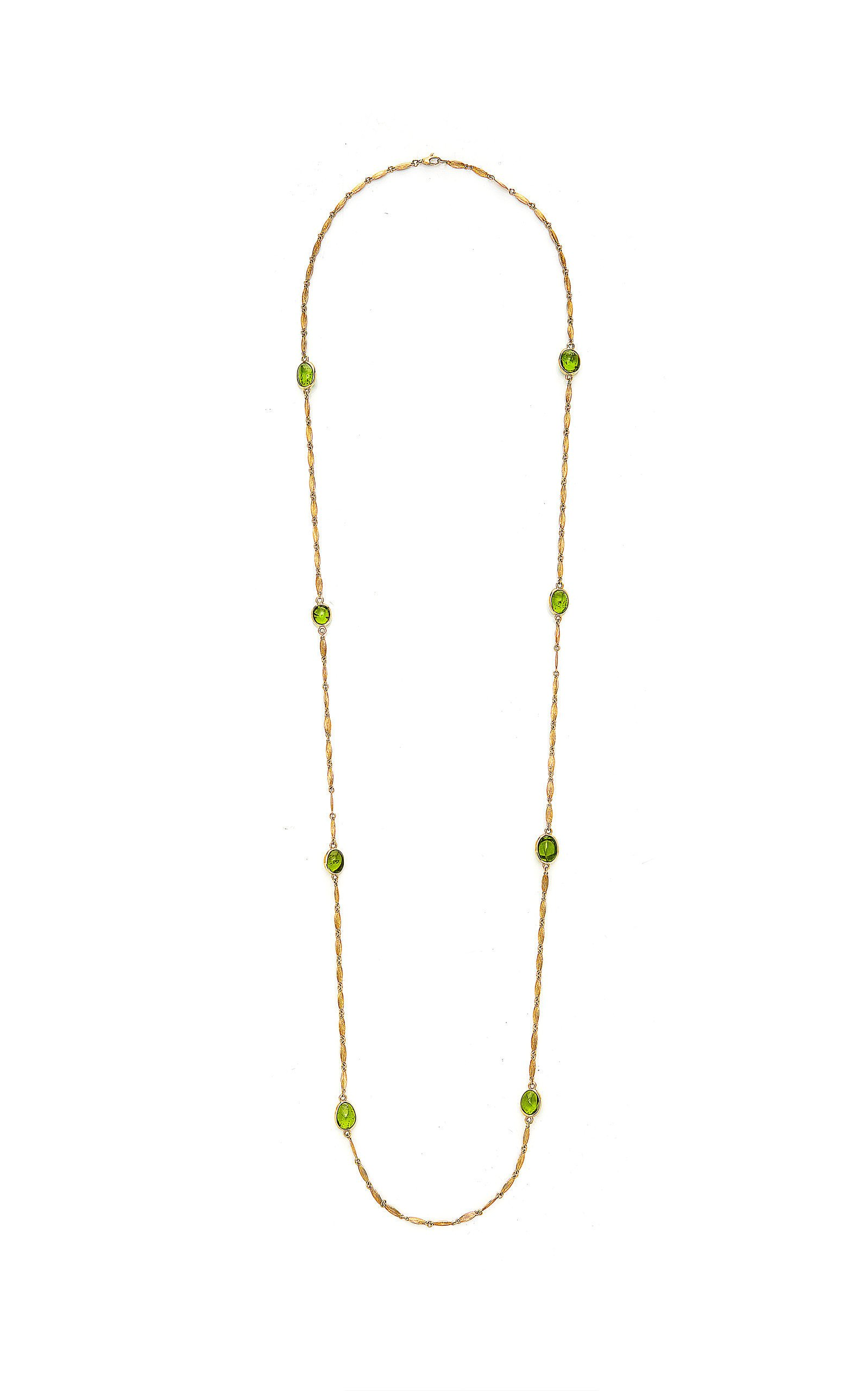 Goshwara G-One' Textured Leaf Chain Necklace With Peridot Tumble