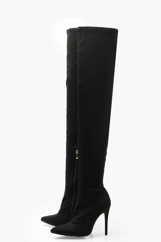 Stiletto Pointed Toe Over The Knee Boots | Boohoo