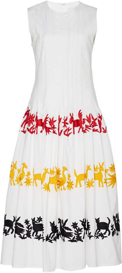Pleated Embroidered Cotton-Blend Dress