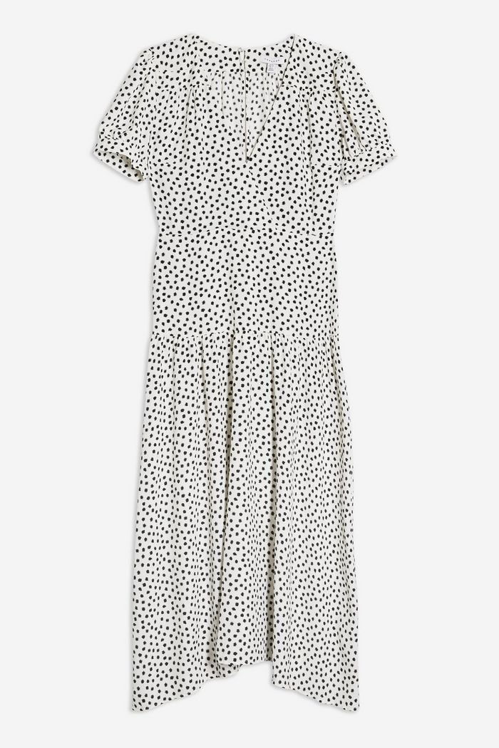 PETITE Black and White Starlight Spot Smock Dress | Topshop white