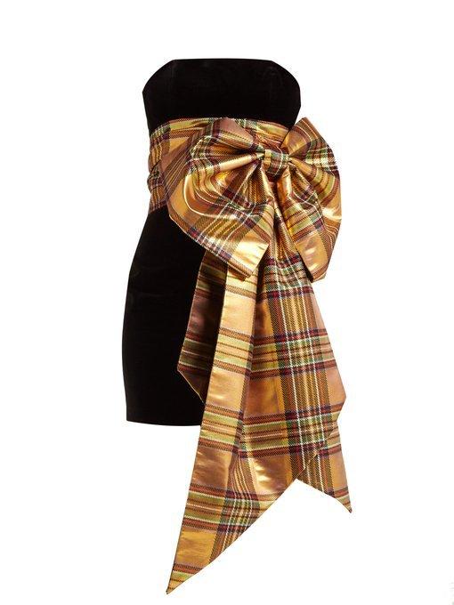 Tartan-bow trim velvet dress