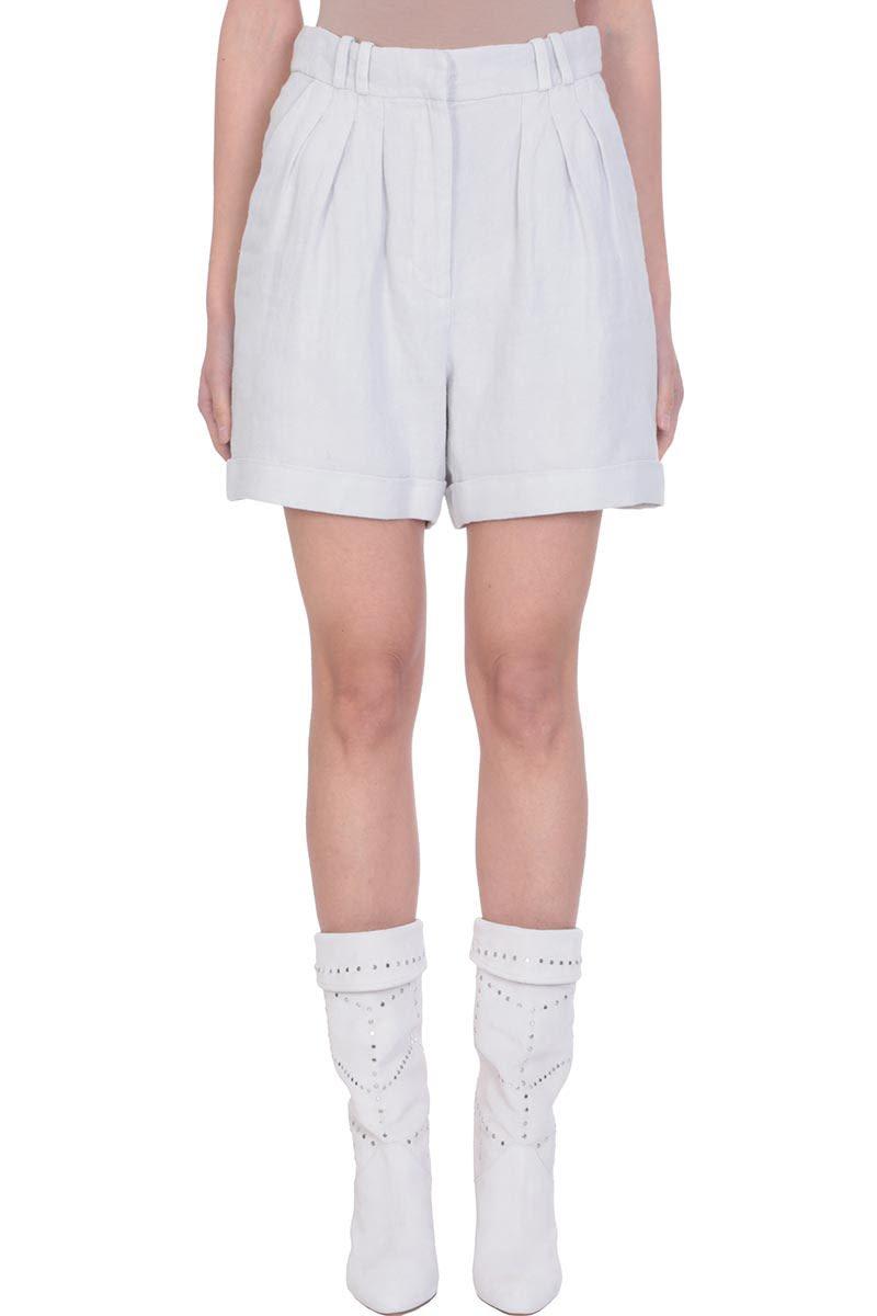 IRO Grey Cotton Linen High Waist Shorts