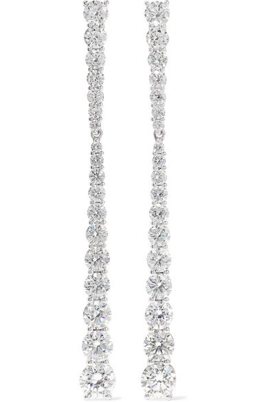 Melissa Kaye | Aria Stiletto small 18-karat white gold diamond earrings | NET-A-PORTER.COM