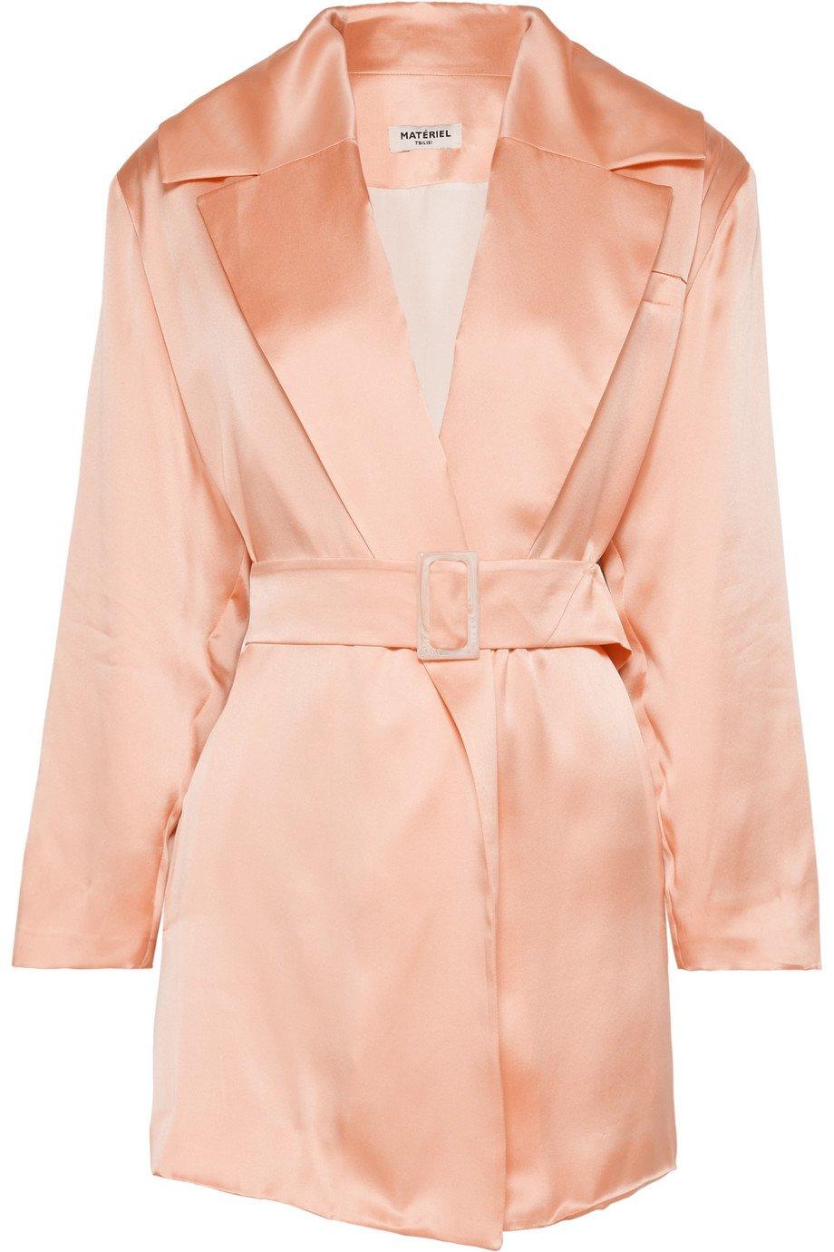 MATÉRIEL | Belted silk-satin blazer | NET-A-PORTER.COM