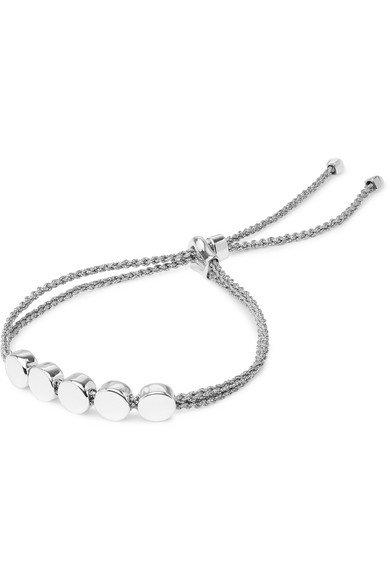 Monica Vinader | Linear Bead sterling silver and woven bracelet | NET-A-PORTER.COM