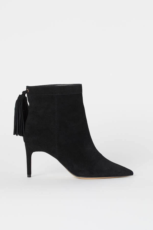 Suede Ankle Boots - Black