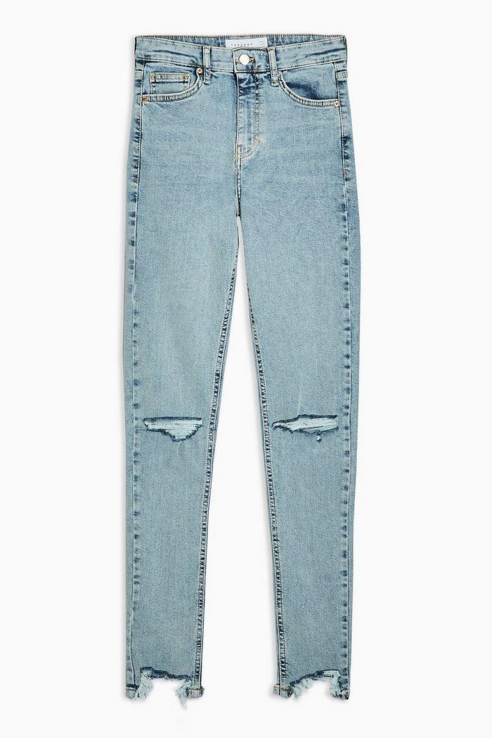 Bleach Ripped Jagged Hem Jamie Jeans   Topshop