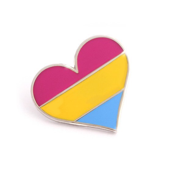 Pansexual pride pin gay lapel pin pansexual flag pin heart | Etsy
