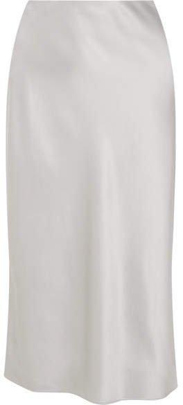 Frances Silk-satin Midi Skirt - Gray