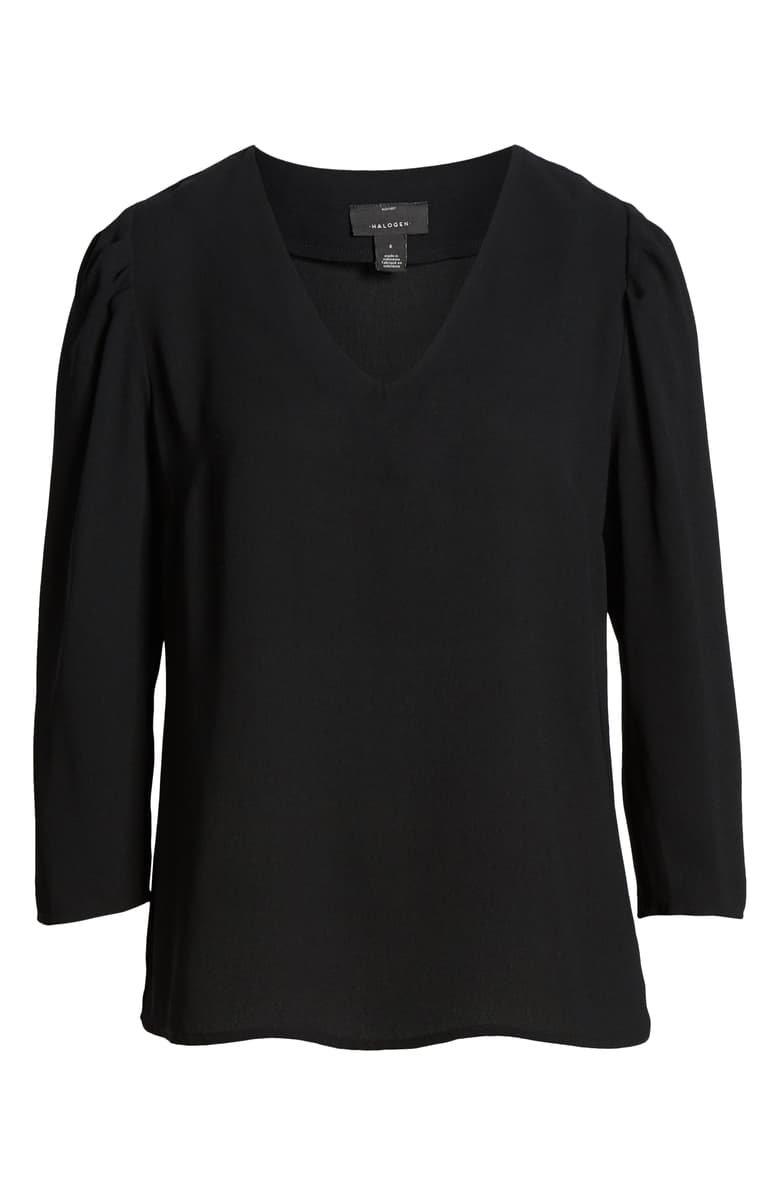 Halogen® V-Neck Blouse black