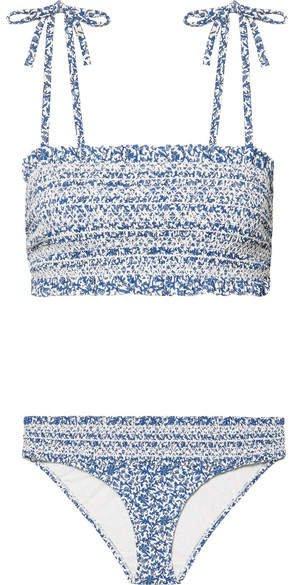 Costa Smocked Floral-print Bikini - Blue