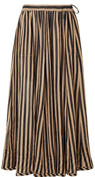 Jaya Striped Cotton-gauze Midi Skirt - Sand