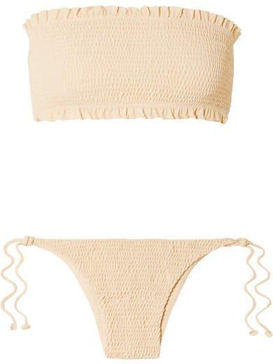 Behati And Candice Shirred Bandeau Bikini - Cream