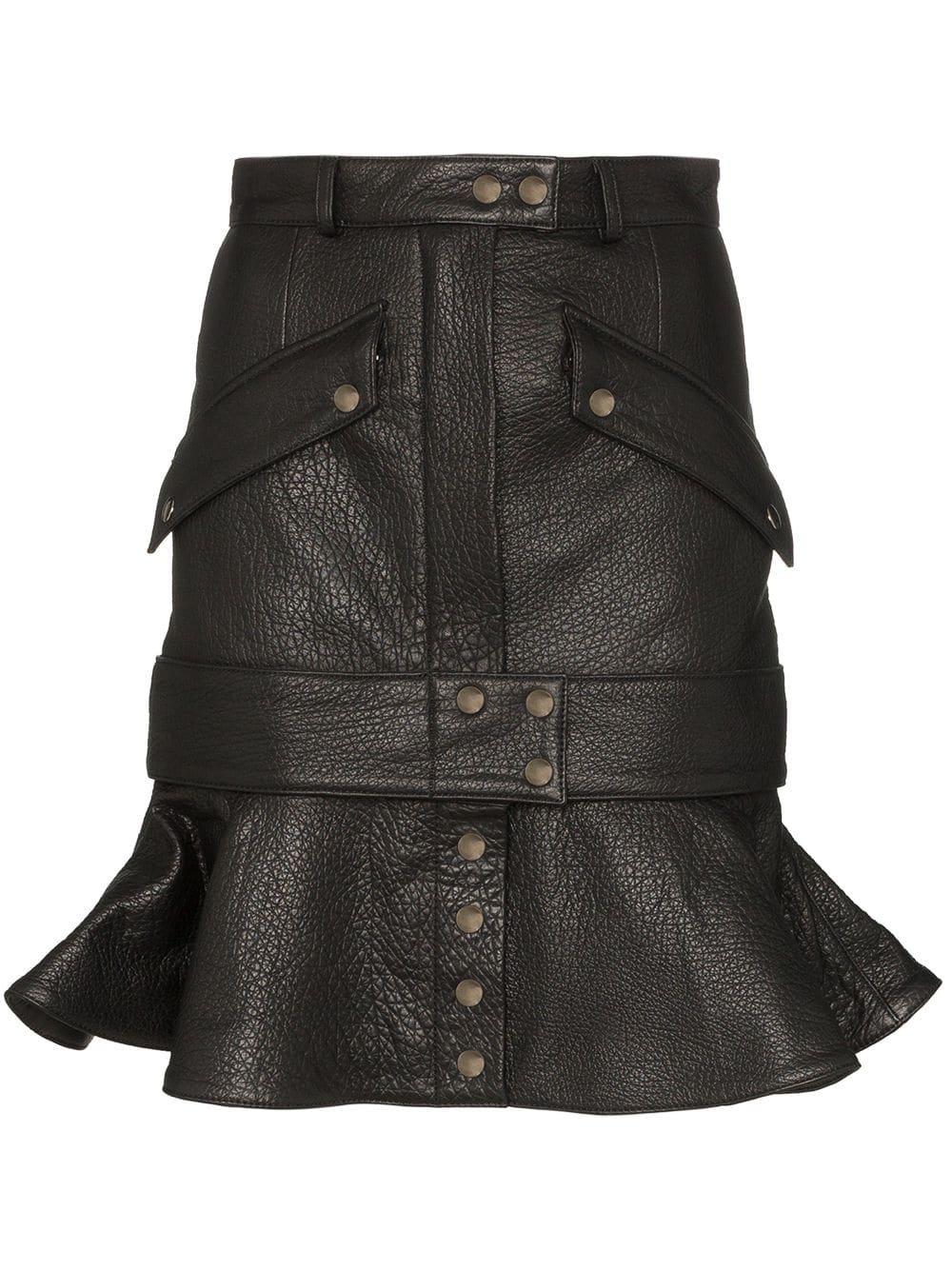 Faith Connexion Ruffled Leather Skirt - Farfetch