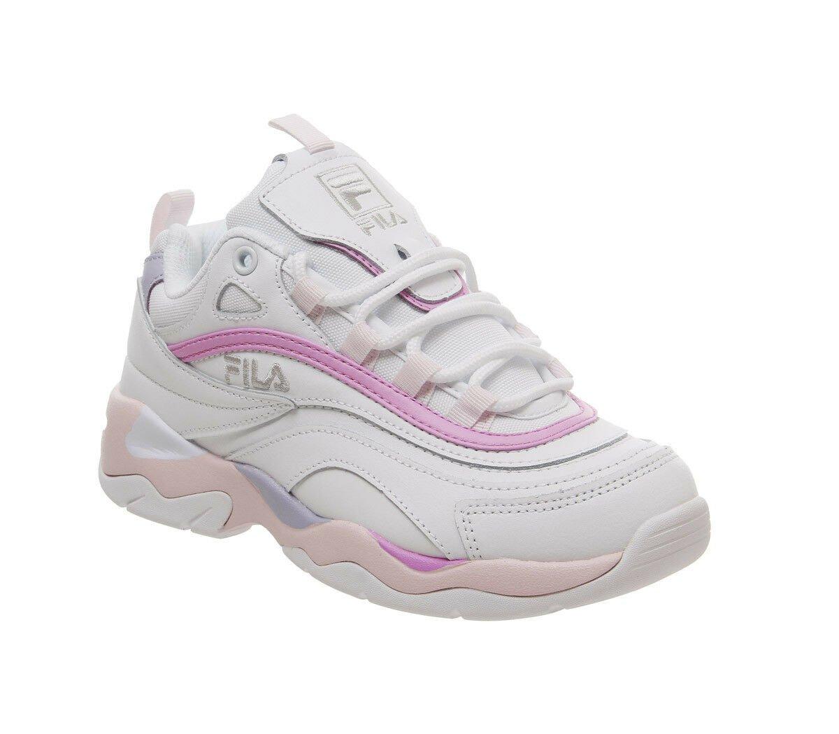 Womens Fila Fila Ray Trainers White Heavenly Pink Purple Trainers Shoes | eBay
