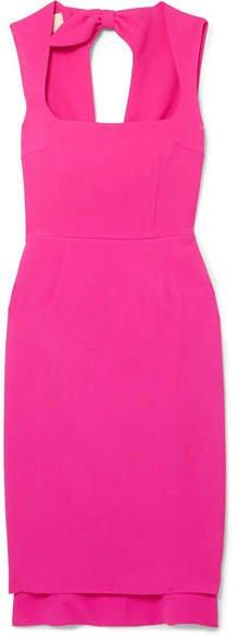 Asymmetric Bow-embellished Crepe Dress - Pink