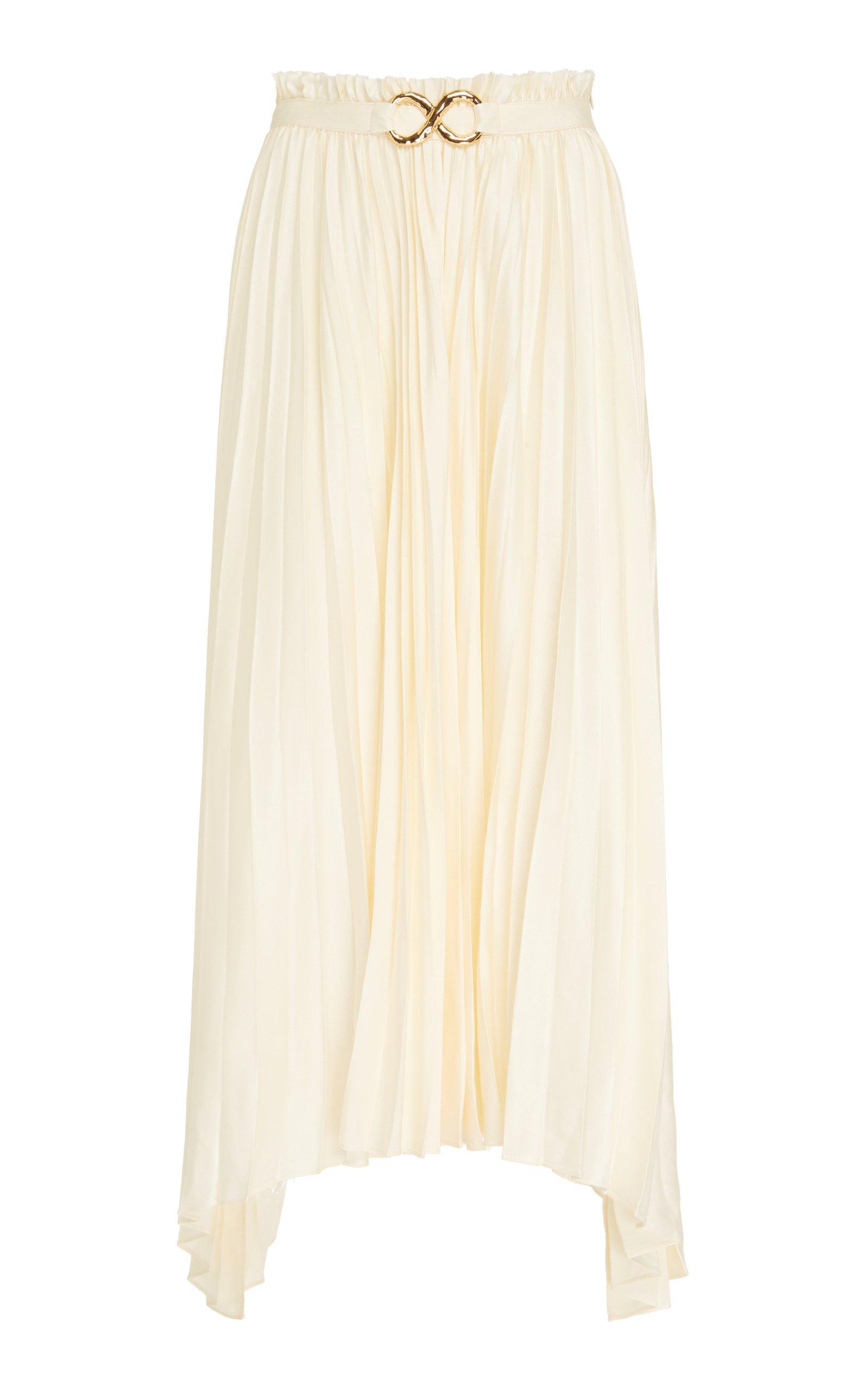 Rejina Pyo Kiera Pleated Satin Midi Skirt Size: 16