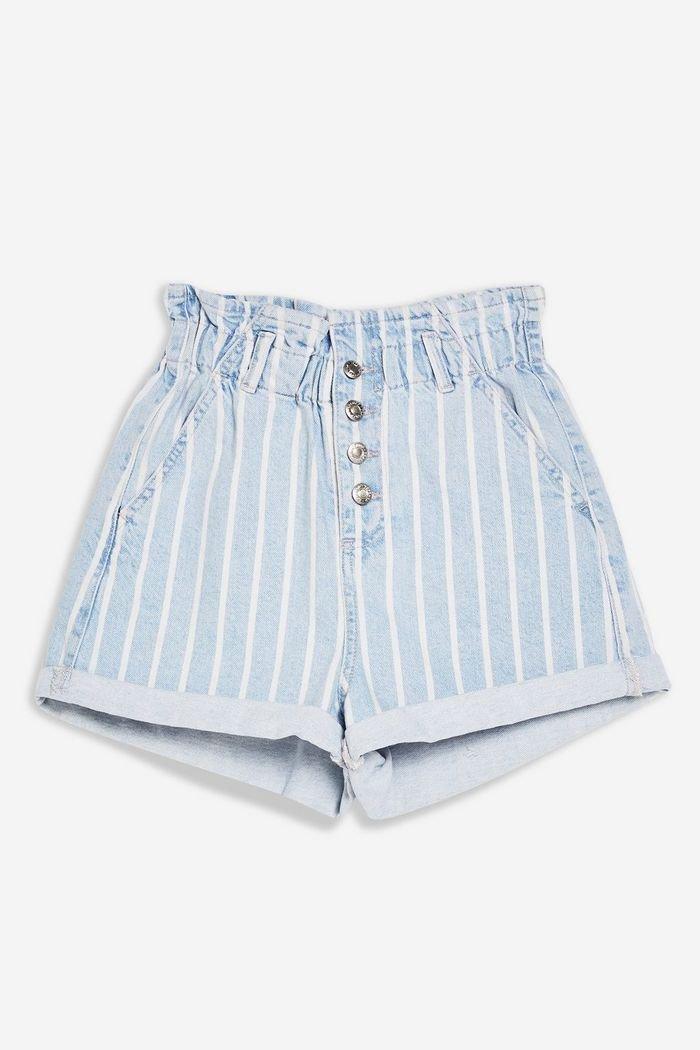 Paperbag Denim Shorts   Topshop