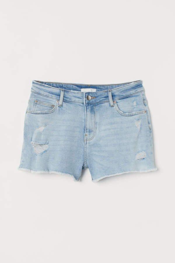 Low Waist Denim Shorts - Blue