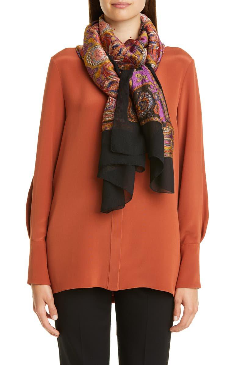 Etro Paisley Jacquard Silk Blend Scarf | Nordstrom