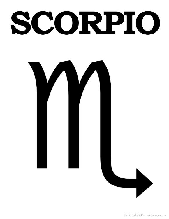 Printable Scorpio Zodiac Sign - Print Scorpio Symbol