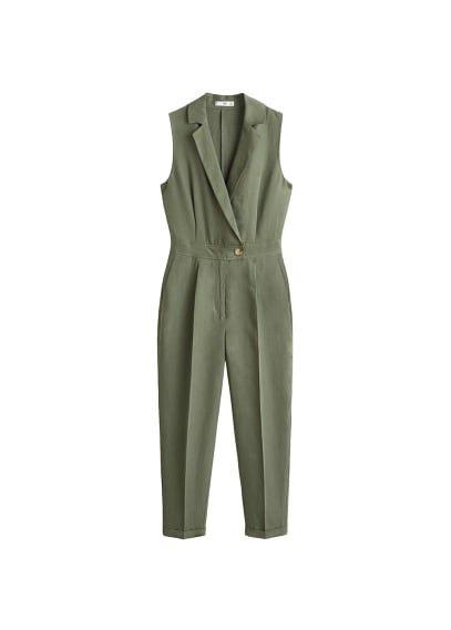 MANGO Long linen-blend jumpsuit