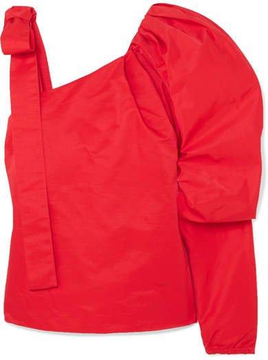 Cooper Cold-shoulder Cotton-blend Poplin Top - Red