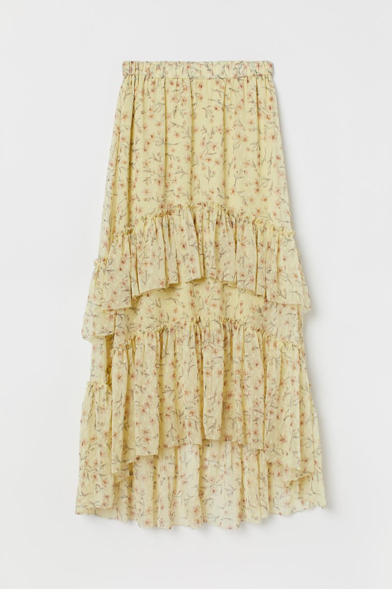 Patterned Tiered Skirt - Light yellow/floral - Ladies | H&M US