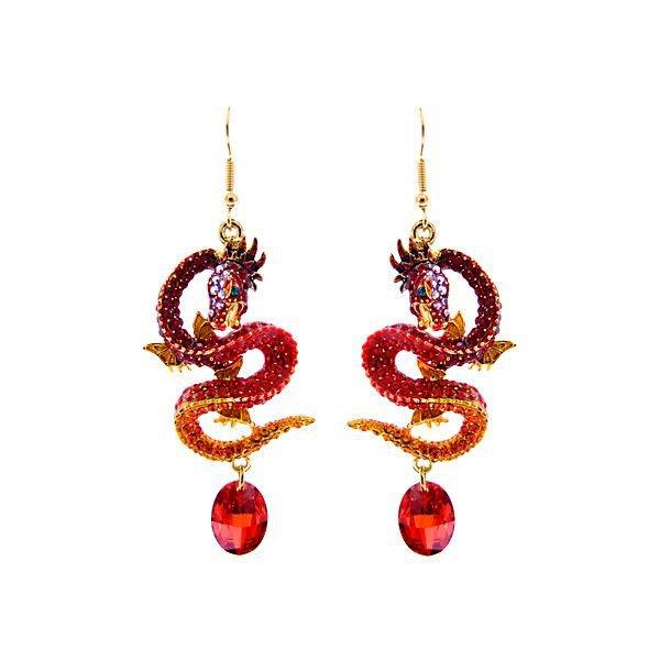 Red Dragon Hanging Earrings