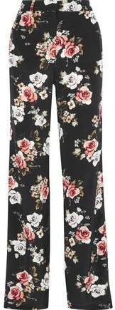 Floral-print Silk Wide-leg Pants