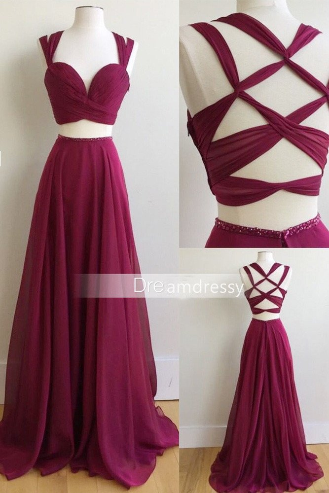 Two Piece Long Prom Dress, 2017 Burgundy Long Prom Dress, Formal Evening Dress on Storenvy