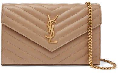 Monogramme Mini Quilted Textured-leather Shoulder Bag - Beige