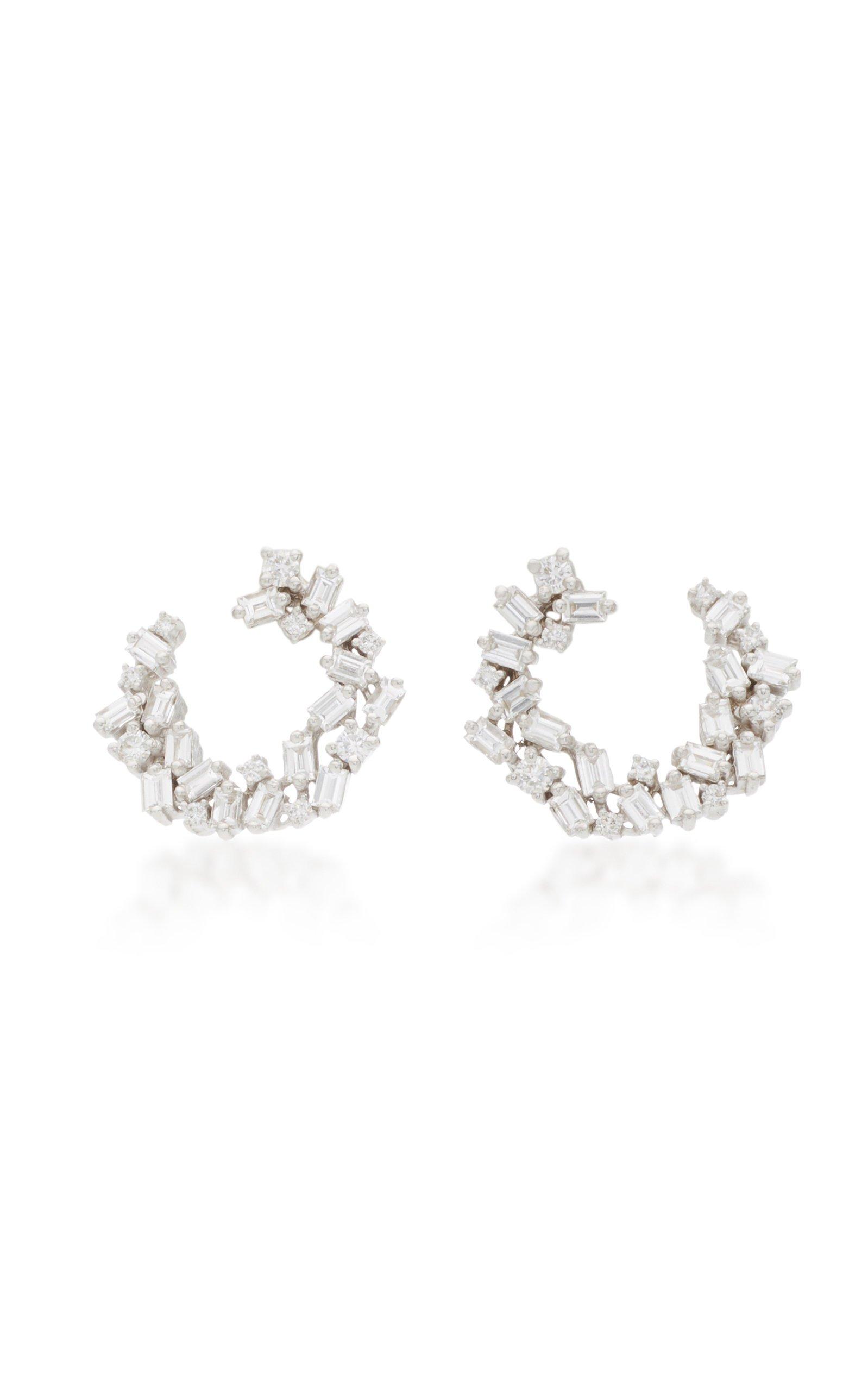 Suzanne Kalan 18K White Gold Mini Diamond Hoop Earrings