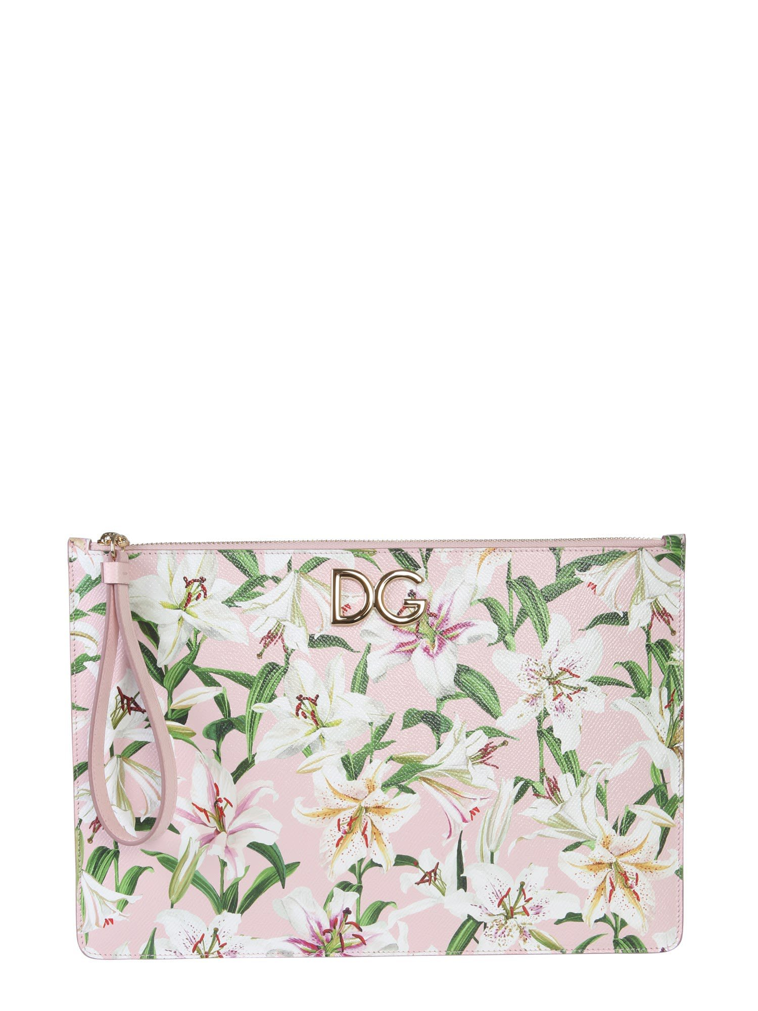 Dolce & Gabbana Dauphine Leather Clutch Bag