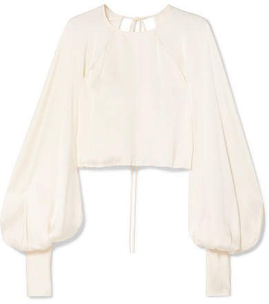 Orseund Iris - Drama Cropped Satin Blouse - Cream