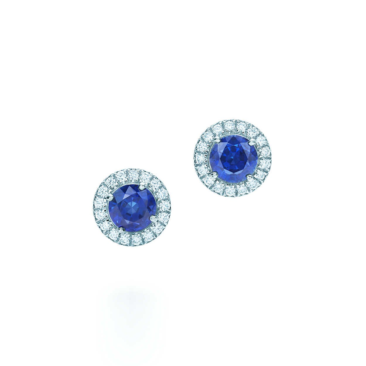 Tiffany Soleste earrings in platinum with sapphires and diamonds. | Tiffany & Co.