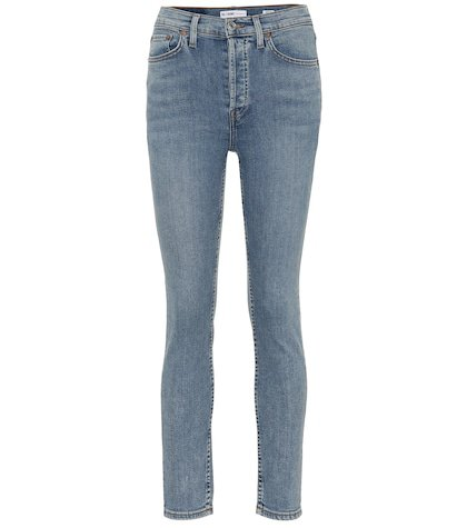 Cropped high-rise skinny jeans