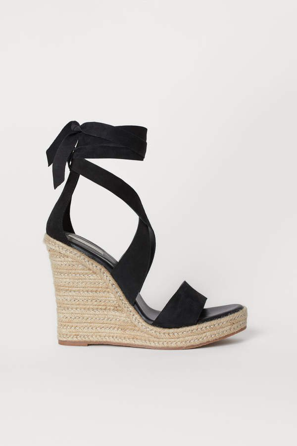 Suede Wedge-heel Sandals - Black