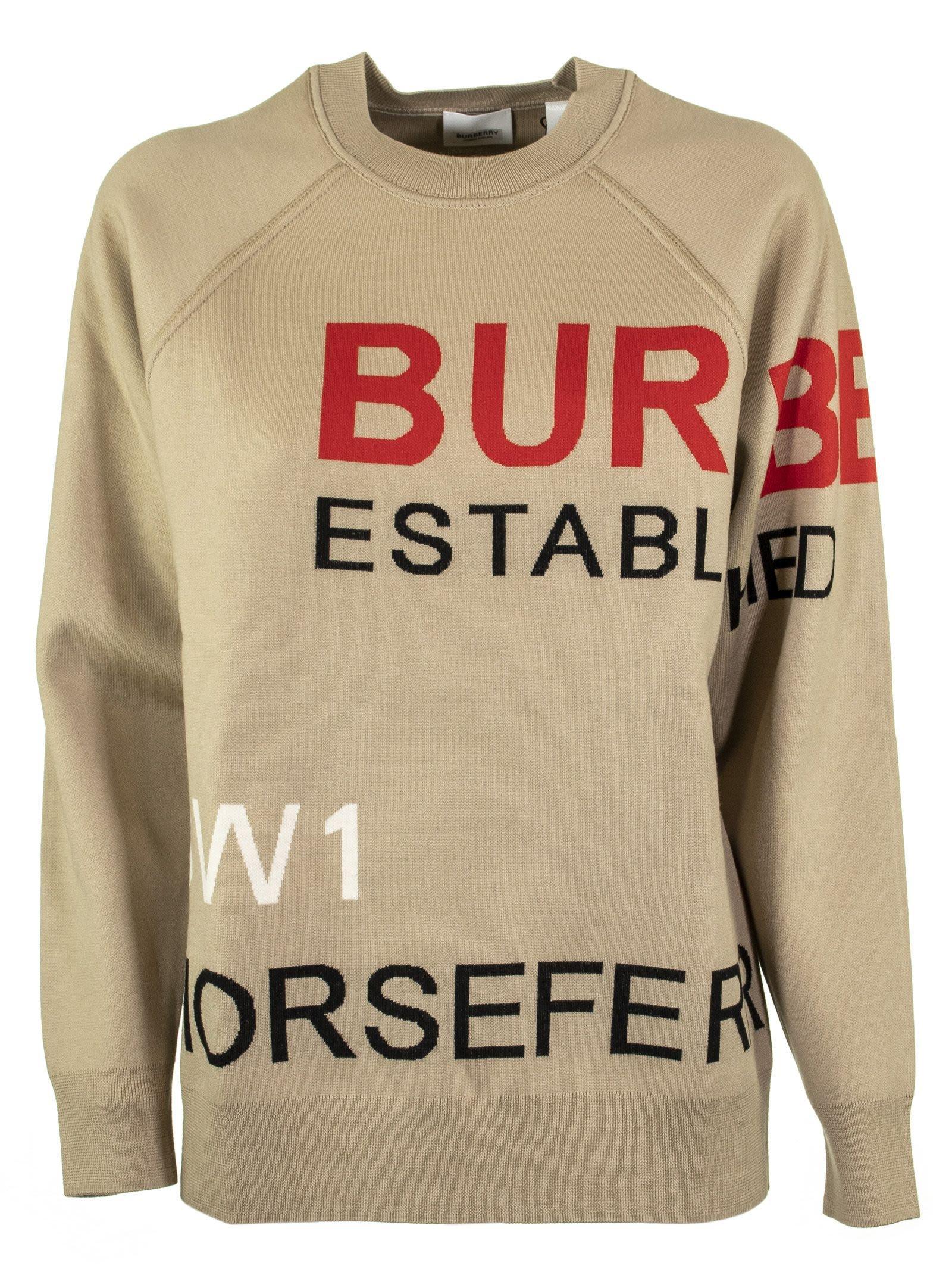 Burberry Horseferry Intarsia Merino Wool Blend Sweater