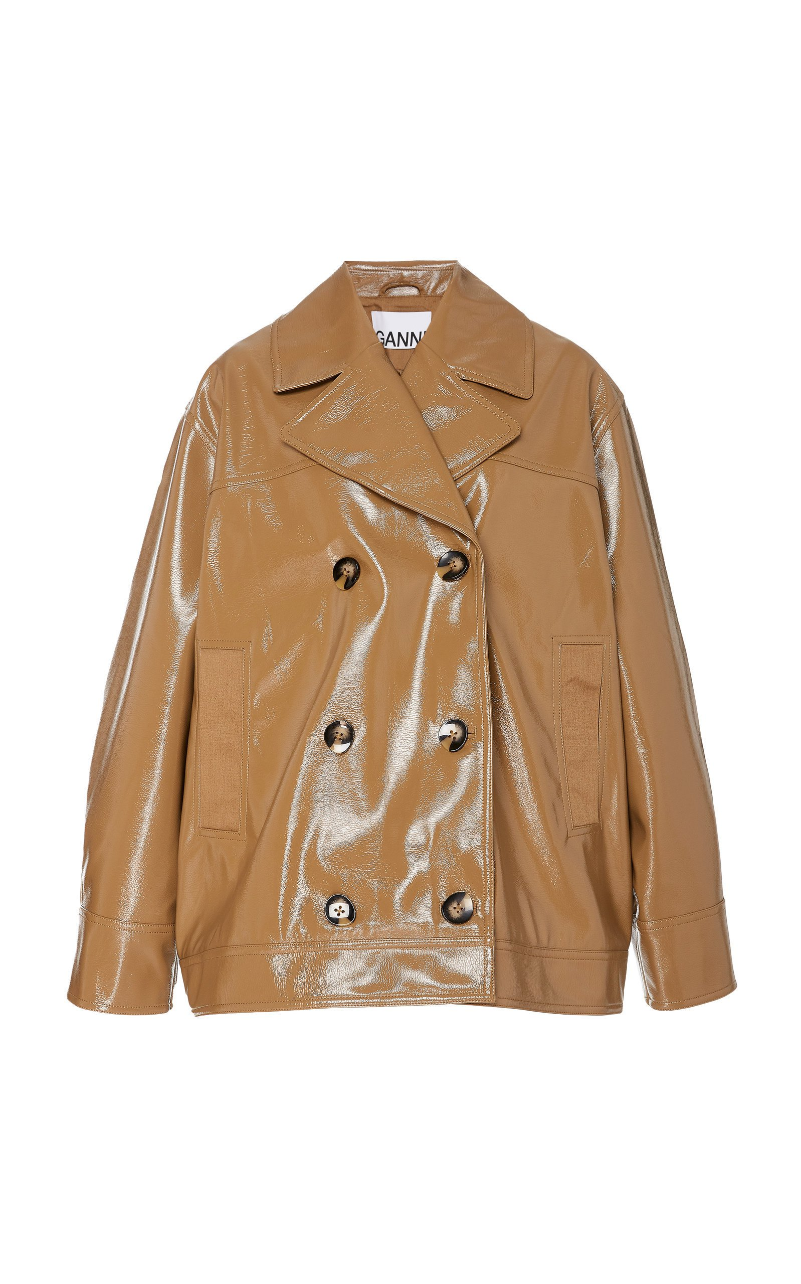 Ganni Double-Breasted Patent Leather Jacket